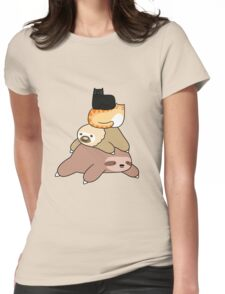 Sloth and Cat Pile Womens Fitted T-Shirt