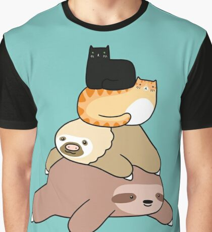 Sloth and Cat Pile Graphic T-Shirt