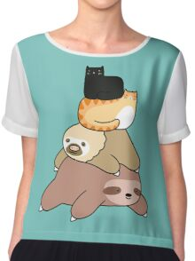 Sloth and Cat Pile Chiffon Top