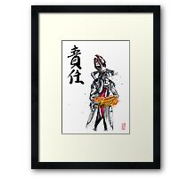 Mordin from Mass Effect Sumie Style with calligraphy Responsibility Framed Print