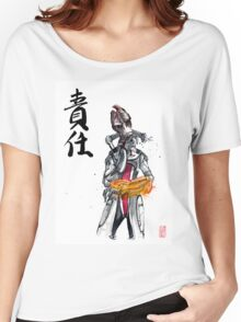 Mordin from Mass Effect Sumie Style with calligraphy Responsibility Women's Relaxed Fit T-Shirt