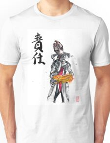 Mordin from Mass Effect Sumie Style with calligraphy Responsibility Unisex T-Shirt