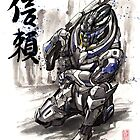 Mass Effect Garrus Sumie style with Japanese Calligraphy by Mycks