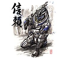 Mass Effect Garrus Sumie style with Japanese Calligraphy Photographic Print
