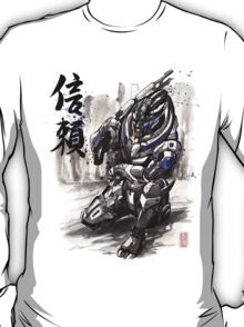 Mass Effect Garrus Sumie style with Japanese Calligraphy T-Shirt