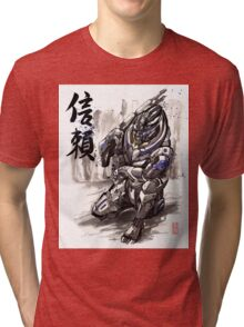 Mass Effect Garrus Sumie style with Japanese Calligraphy Tri-blend T-Shirt