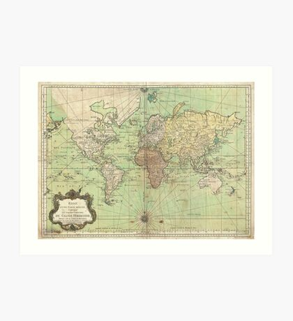 Vintage Map of The World (1778) Art Print