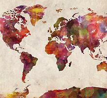 World map watercolor by MapMapMaps