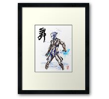 Mass Effect Liara Sumie style with Japanese Calligraphy Framed Print