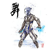 Mass Effect Liara Sumie style with Japanese Calligraphy Photographic Print