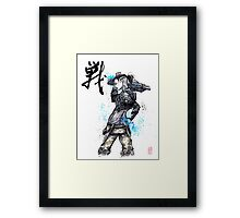 Jack from Mass Effect Sumie Style with calligraphy FIGHT Framed Print