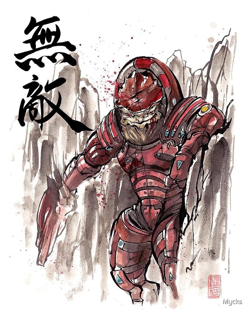 Mass Effect Urdnot Wrex Sumie style by Mycks