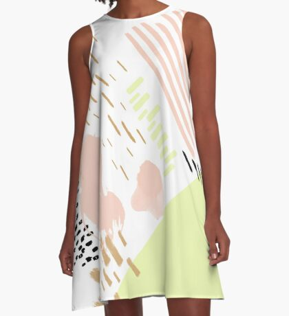 Neon Rain Abstract Painting A-Line Dress