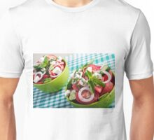 Two portions of useful vegetarian meal closeup Unisex T-Shirt