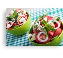 Two portions of useful vegetarian meal closeup Canvas Print