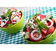 Two portions of useful vegetarian meal closeup Photographic Print