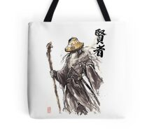 Gandalf Samurai with Sumi ink and watercolor Japanese Calligraphy Magus Tote Bag