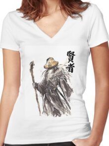 Gandalf Samurai with Sumi ink and watercolor Japanese Calligraphy Magus Women's Fitted V-Neck T-Shirt