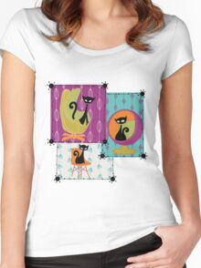 60's RETRO MID-CENTURY MODERN CATS Women's Fitted Scoop T-Shirt