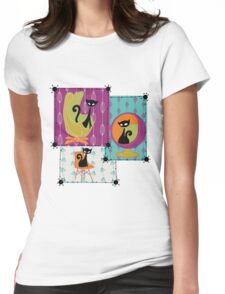 60's RETRO MID-CENTURY MODERN CATS Womens Fitted T-Shirt