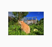 Ginger cat in garden with flowers Unisex T-Shirt