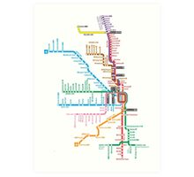 Chicago Trains Map Art Print