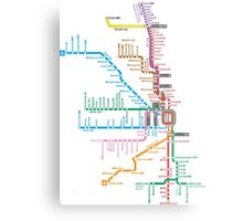 Chicago Trains Map Metal Print