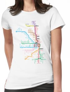 Chicago Trains Map Womens Fitted T-Shirt