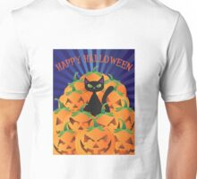 Halloween Cat with Pumpkins Illustration Unisex T-Shirt