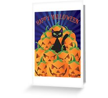 Halloween Cat with Pumpkins Illustration Greeting Card