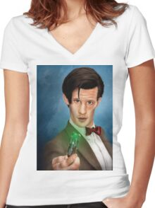 11th Doctor Women's Fitted V-Neck T-Shirt
