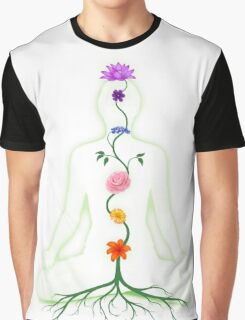 Meditating Woman with Chakras Shown as Flowers art photo print Graphic T-Shirt