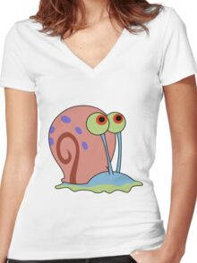 gary the snail Women's Fitted V-Neck T-Shirt