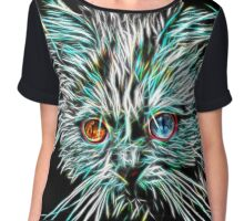 Odd-Eyed White Glowing Cat Chiffon Top