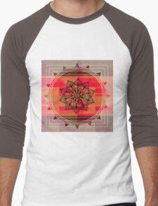 Zentangle on Red Men's Baseball ¾ T-Shirt