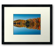 Autumn forest reflecting in still water art photo print Framed Print