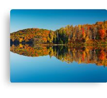 Autumn forest reflecting in still water art photo print Canvas Print