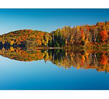 Autumn forest reflecting in still water art photo print Photographic Print