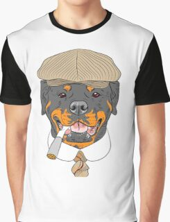hipster dog Rottweiler breed in a brown cap, with a tie and a cigarette Graphic T-Shirt