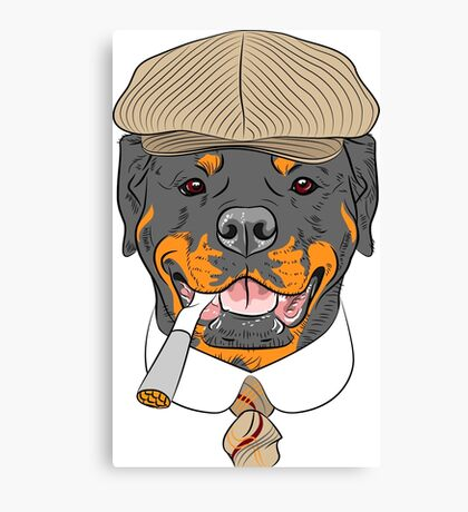 hipster dog Rottweiler breed in a brown cap, with a tie and a cigarette Canvas Print