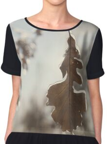 Frozen oak leaf abstract nature detail art photo print Chiffon Top