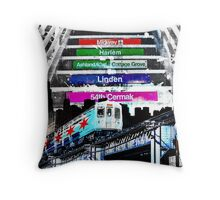 Orange Line and Dime Throw Pillow