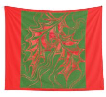 Miniature Aussie Tangle 020 in Xmas Red and Green Wall Tapestry