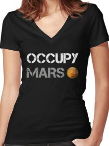 Occupy Mars Shirt Women's Fitted V-Neck T-Shirt