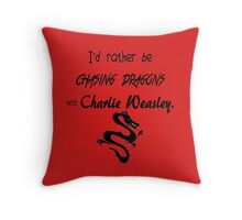 Chasing Dragons With Charlie Weasley Throw Pillow
