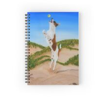 Mini Fox Terrier playing at the beach Spiral Notebook