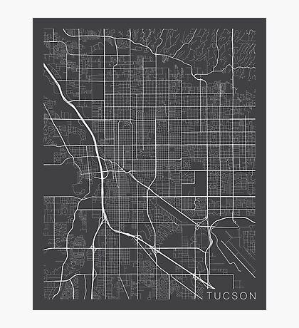 Tucson Map, USA- Gray Photographic Print