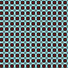 Red teal square pattern by Heidivaught
