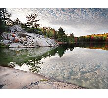 Autumn Nature Lake Rocks and Trees art photo print Photographic Print