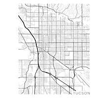 Tucson Map, USA - Black and White Photographic Print